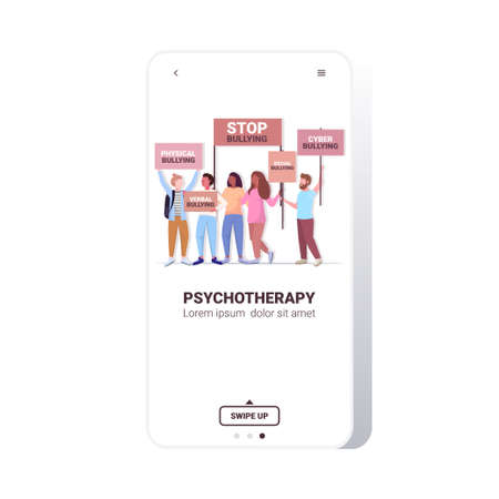 mix race activists holding stop bullying banners psychotherapy concept