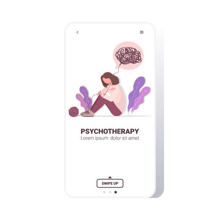 upset woman with bewildered thoughts in her mind depression problems stress psychotherapy concept smartphone screen full length copy space vector illustration