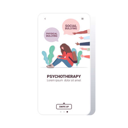 fingers pointing on upset girl violence social anxiety social physical bullying psychotherapy concept smartphone screen mobile app copy space full length vector illustration Illustration