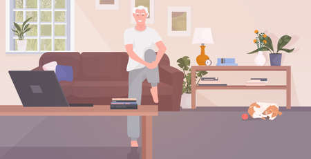 senior man sitting on sofa using laptop gray haired character relaxing at home living room interior horizontal full length vector illustration