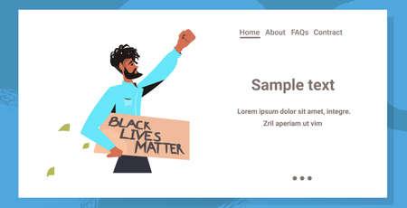 african american man holding black lives matter banner campaign against racial discrimination Ilustración de vector