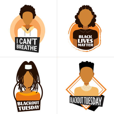 set african american people against racial discrimination i cant breathe black lives matter blackout tuesday