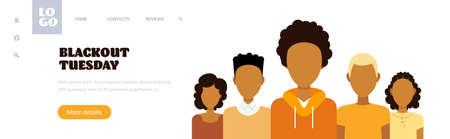 african american people against racial discrimination blackout tuesday black lives matter concept social problems of racism portrait horizontal copy space vector illustration