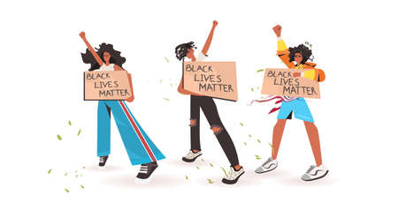 african american people holding black lives matter banner campaign against racial discrimination of dark skin color social problems of racism full length horizontal vector illustration