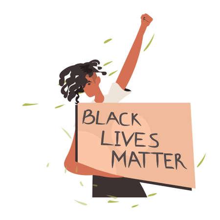 african american woman holding black lives matter banner campaign against racial discrimination of dark skin color social problems of racism portrait vector illustration Ilustración de vector