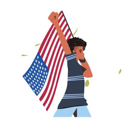 african american woman holding usa flag black lives matter campaign against racial discrimination of dark skin color social problems of racism portrait vector illustration