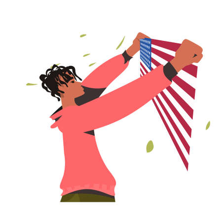 african american man holding usa flag black lives matter campaign against racial discrimination of dark skin color social problems of racism portrait vector illustration