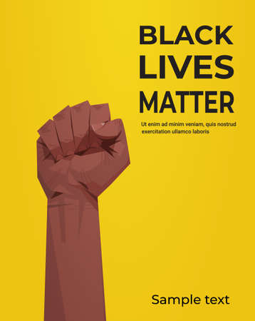 black lives matter banner raised up fist awareness campaign against racial discrimination of dark skin color