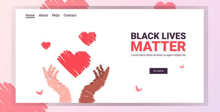 black lives matter heart in multiracial hands awareness campaign against racial discrimination