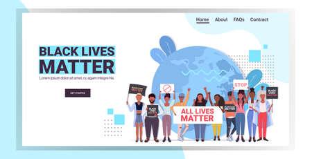 protesters with black lives matter banners awareness campaign against racial discrimination Ilustração