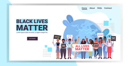 protesters with black lives matter banners awareness campaign against racial discrimination Illustration