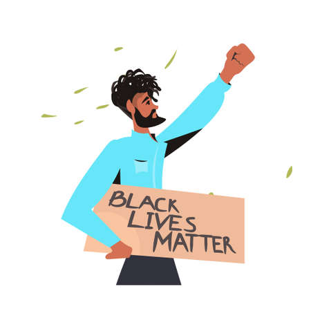 african american man holding black lives matter banner campaign against racial discrimination