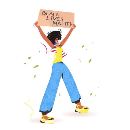 african american woman holding black lives matter banner campaign against racial discrimination Ilustración de vector