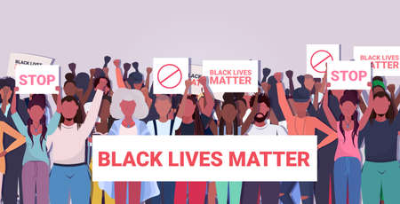 protesters with black lives matter banners awareness campaign against racial discrimination