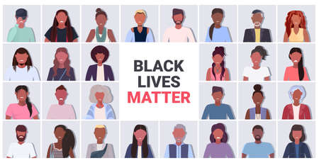 set african american people avatars black lives matter awareness campaign against racial discrimination