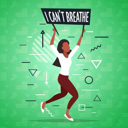 african american woman holding i cant breathe banner black lives matter campaign against racial discrimination Ilustración de vector