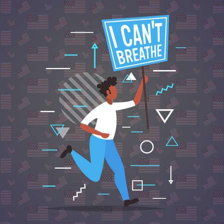 man holding i cant breathe banner black lives matter campaign against racial discrimination