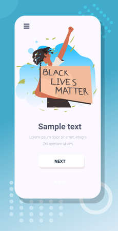 african american woman holding black lives matter banner campaign against racial discrimination Illustration