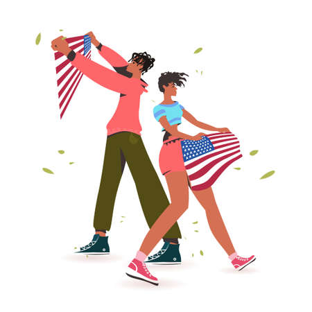 african american man woman holding usa flag black lives matter campaign against racial discrimination of dark skin color support for equal rights of black people full length vector illustration