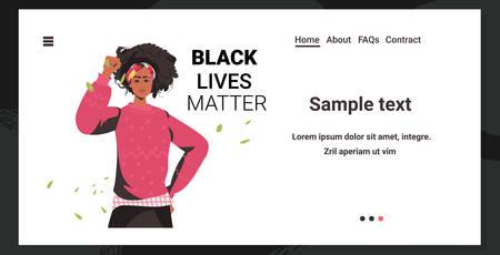 african american woman against racial discrimination black lives matter concept social problems of racism Çizim