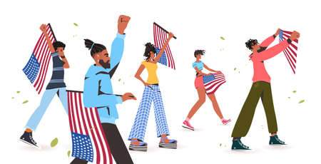 african american people holding usa flags and banners black lives matter campaign against racial discrimination Illustration