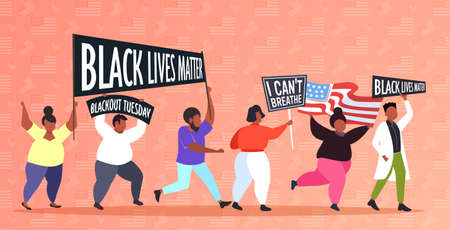 african american protesters with black lives matter banners protesting against racial discrimination social problems of racism horizontal full length vector illustration