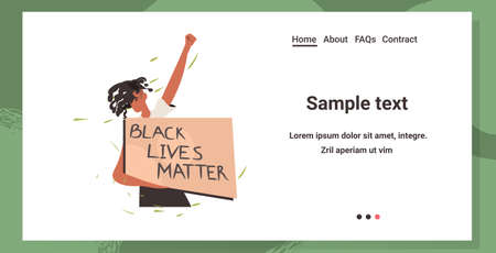 african american woman holding black lives matter banner campaign against racial discrimination of dark skin color social problems of racism portrait horizontal copy space vector illustration