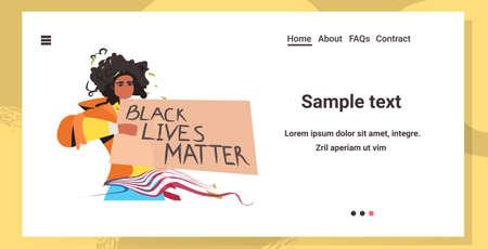 african american woman holding black lives matter banner campaign against racial discrimination of dark skin color social problems of racism horizontal copy space portrait vector illustration Illustration