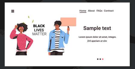 african american couple holding blank cardboard banner black lives matter campaign against racial discrimination of dark skin color social problems of racism portrait horizontal copy space vector illustration Ilustración de vector