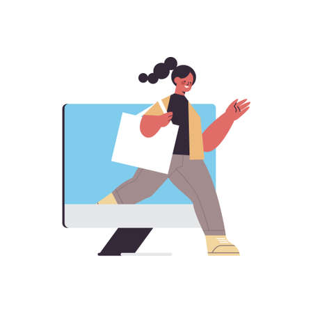 woman coming out of monitor screen digital detox concept girl spending time without gadgets abandoning internet and social networks full length vector illustration
