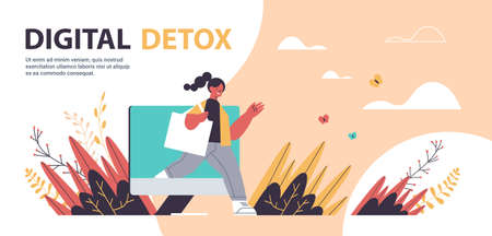 woman coming out of monitor screen digital detox concept girl spending time without gadgets abandoning internet and social networks full length horizontal copy space vector illustration