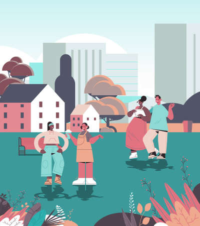 people walking urban park digital detox concept friends spending time together without gadgets  イラスト・ベクター素材