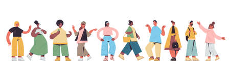 set cute people in casual trendy clothes mix race men women standing in different poses