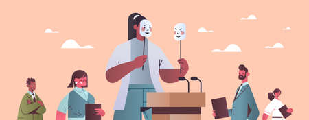 woman candidate politician covering face under masks with different emotions fake feeling election day Ilustración de vector