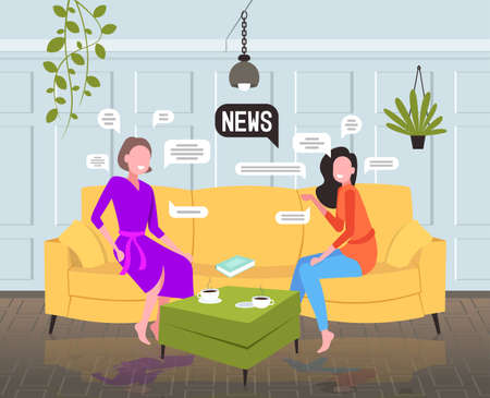 girls chatting during meeting women discussing daily news sitting on sofa chat bubble communication concept Иллюстрация