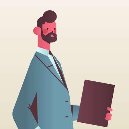 businessman holding folder business man office worker in formal wear male cartoon character portrait