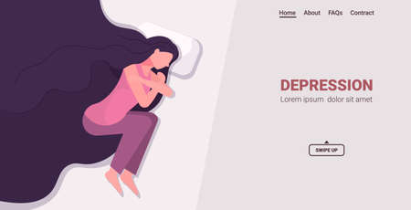 upset woman crying depressed girl lying in bed depression problems stress pain psychology concept Vectores