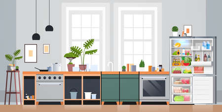 kitchen interior empty nobody apartment with open fridge full of fresh food home appliances concept