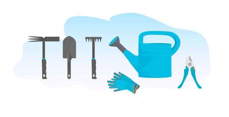 set different gardening tools various garden equipment 일러스트