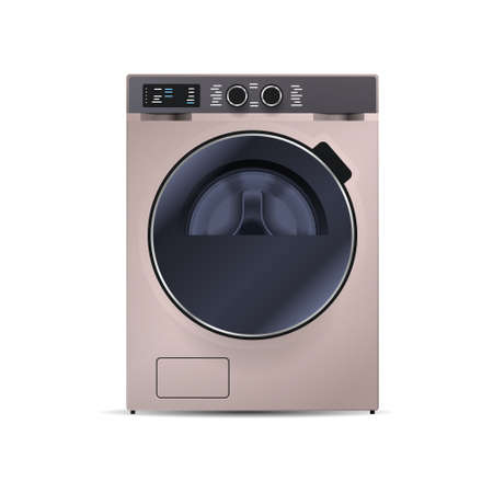 washing machine isolated on white background front view of steel washer domestic household appliance
