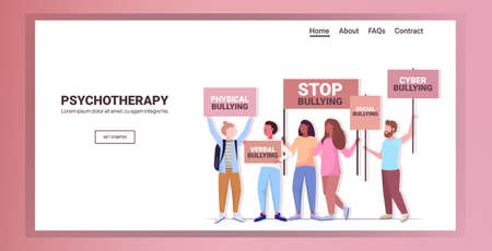 mix race activists holding stop bullying banners psychotherapy concept horizontal Stock Illustratie