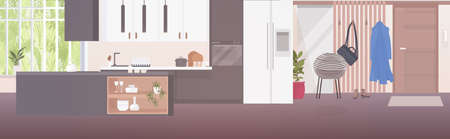 modern open kitchen and hall interior empty no people apartment with furniture horizontal vector illustration