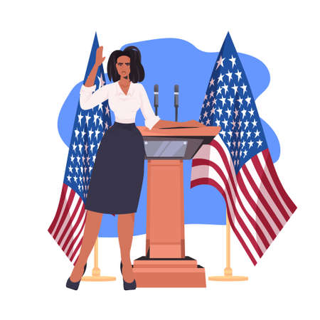 female politician making speech from tribune with usa flag 4th of july american independence day celebration Ilustración de vector