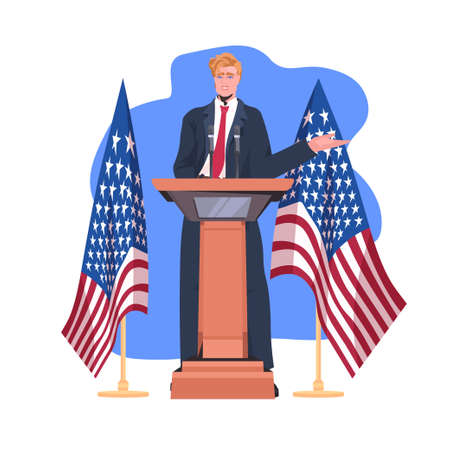 politician making speech from tribune with usa flag 4th of july american independence day celebration Ilustración de vector