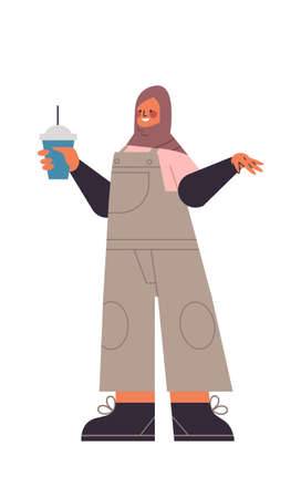 arabic woman in traditional clothes drinking cocktail arab girl female cartoon character standing pose