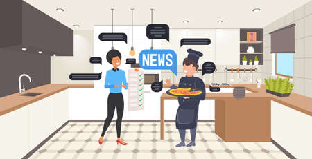 waitress and chef cook discussing daily news chat bubble communication concept Ilustracja