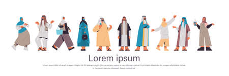 set arabic people in traditional clothes arab men women standing pose male female cartoon characters collection full length horizontal copy space vector illustration