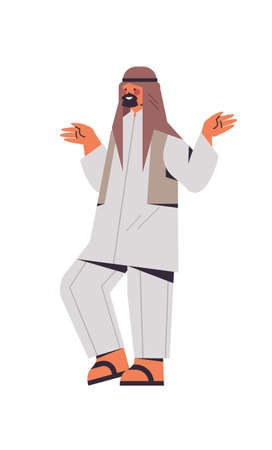 arabic man in traditional clothes arab businessman standing pose male cartoon character full length isolated vertical vector illustration