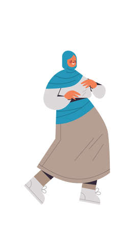 arabic woman in traditional clothes arab smiling girl female cartoon character standing pose full length isolated vertical vector illustration