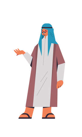 arabic man in traditional clothes arab businessman pointing hand at something male cartoon character standing pose full length isolated vertical vector illustration